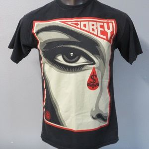 Obey mens t shirt black size m
